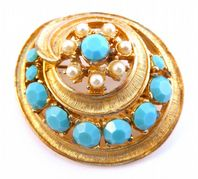 Vintage Large Raised Faux Turquoise and Pearl Floral Spiral Brooch By Sphinx.